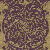 Zoffany Tespi Gold / Amethyst Wallpaper