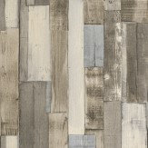Albany Wooden Blocks Taupe and Blue Wallpaper