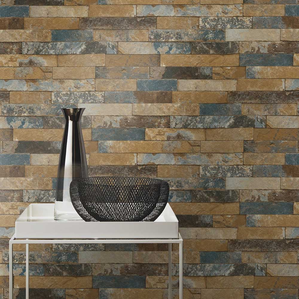 Albany Brick Denim Wallpaper - Product code: 475104