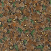Albany Duck Feathers Brown and Green Wallpaper
