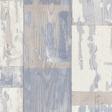 Albany Distressed Planks Blue and White Wallpaper