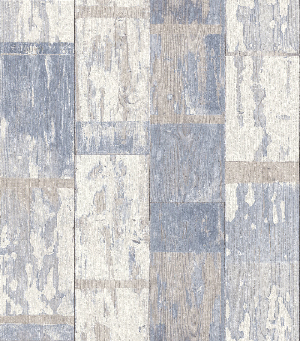 Albany Distressed Planks Blue and White Wallpaper - Product code: 587128