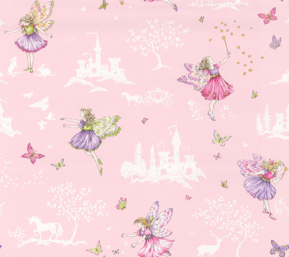 Jane Churchill Fairyland Cream / Pink Wallpaper main image