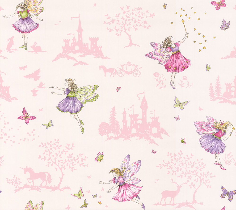 Jane Churchill Fairyland Pink Wallpaper main image