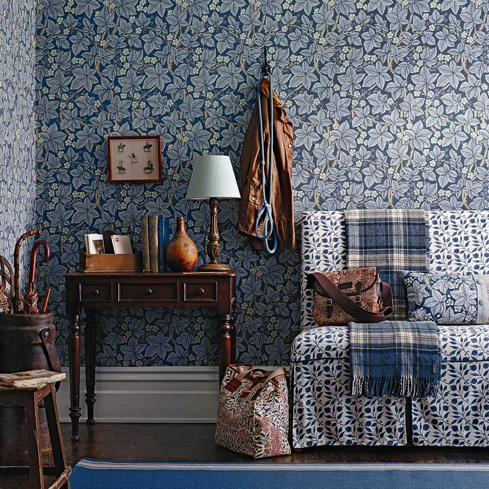 Bramble Wallpaper - Indigo - by Morris
