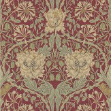 Morris Honeysuckle and Tulip Red / Gold Wallpaper