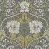 Morris Honeysuckle and Tulip Charcoal / Gold Wallpaper - Product code: 214701