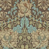 Morris Honeysuckle and Tulip Taupe / Aqua Wallpaper
