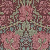 Morris Honeysuckle and Tulip Burgundy / Sage Wallpaper