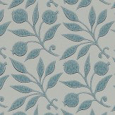 Morris Rosehip Mineral Blue Wallpaper