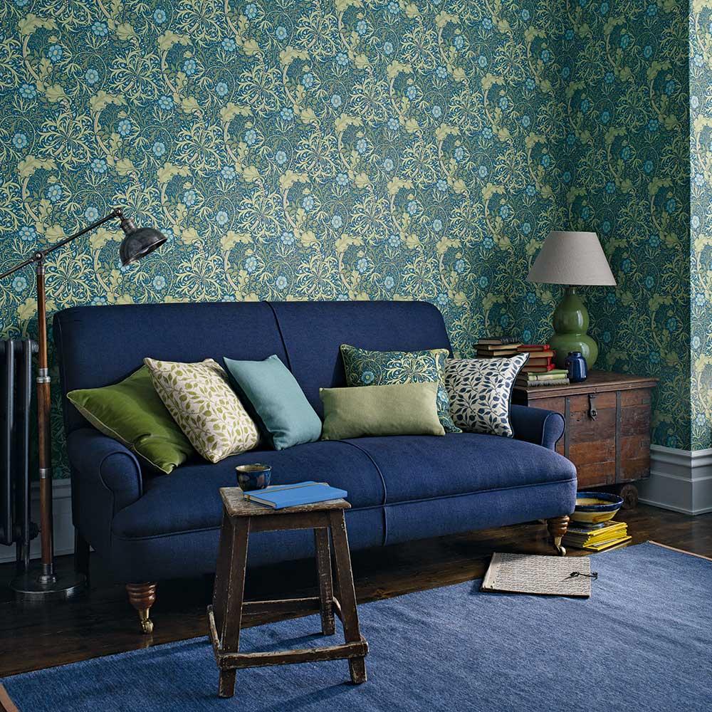 Morris Seaweed Wallpaper - Cobalt / Thyme - by Morris