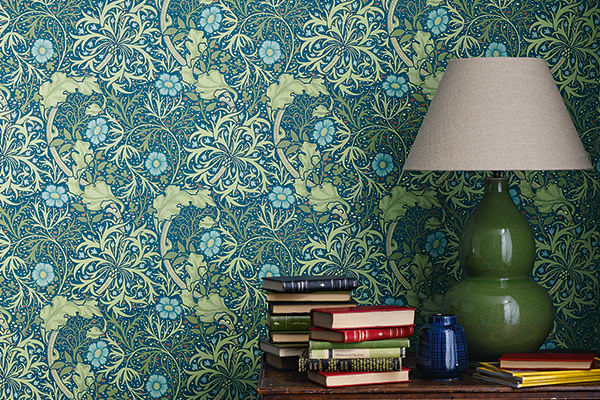 Morris Morris Seaweed Cobalt / Thyme Wallpaper