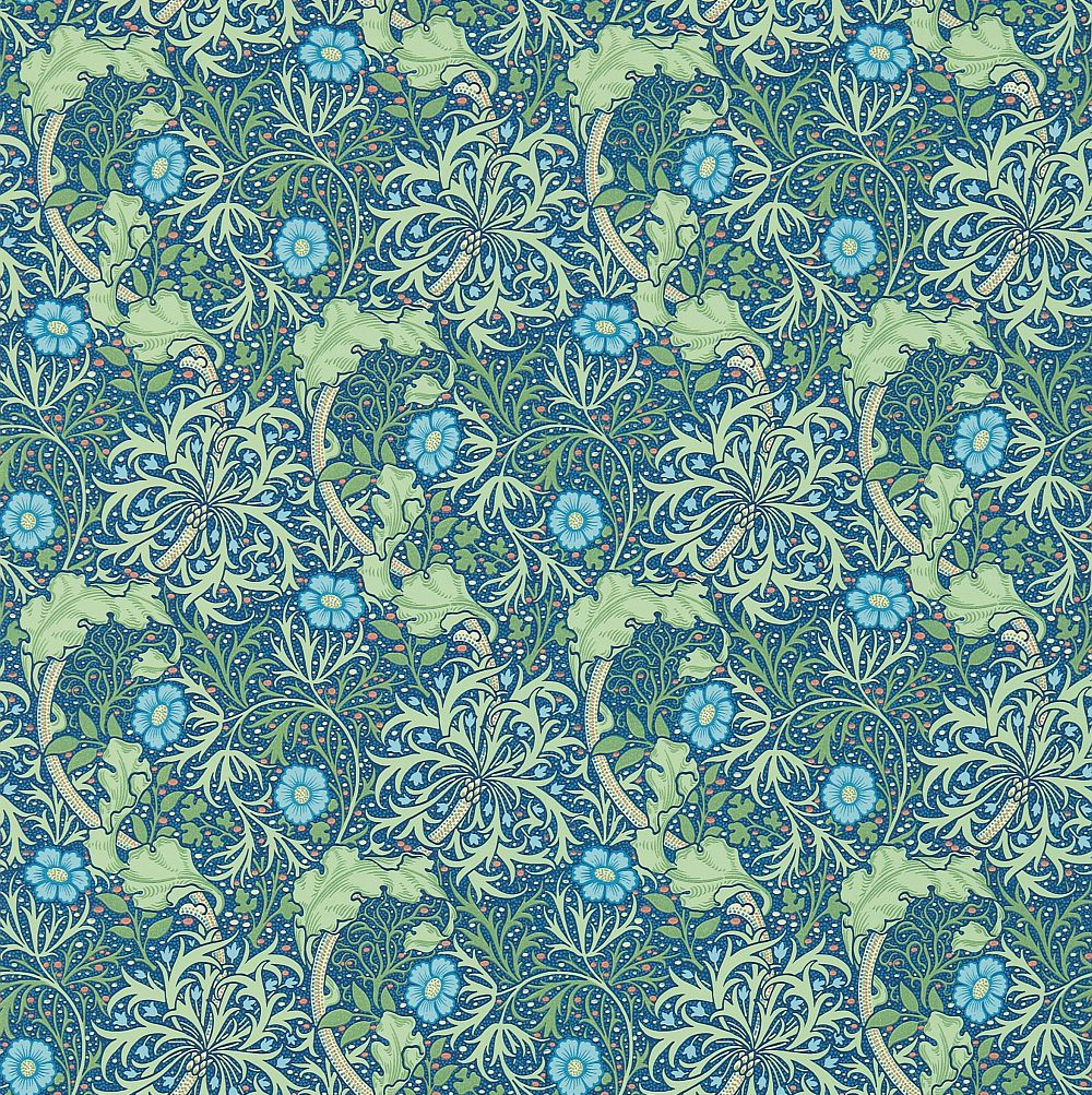 Morris Morris Seaweed Cobalt / Thyme Wallpaper main image