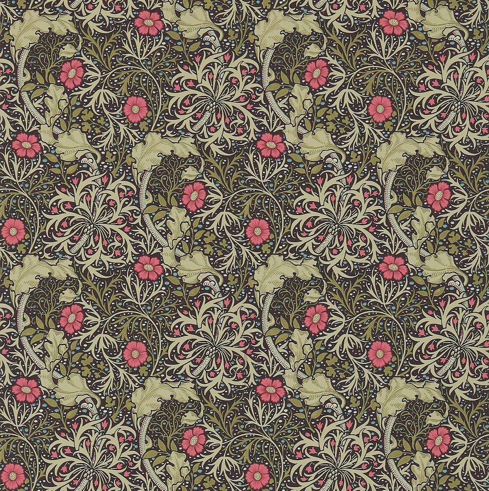 Morris Morris Seaweed Ebony / Poppy Wallpaper main image