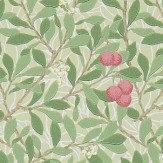Morris Arbutus Olive / Pink Wallpaper