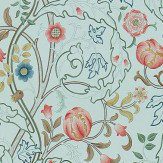 Morris Mary Isobel Silk Blue / Pink Wallpaper