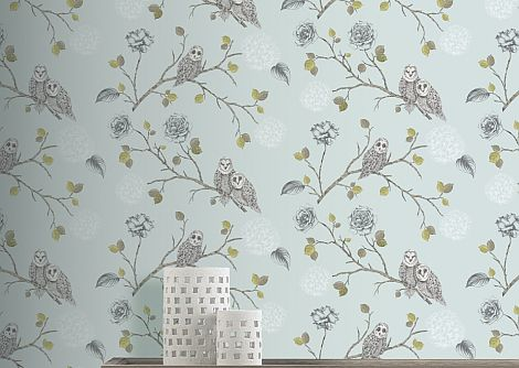 Arthouse Night Owl Duck Egg Wallpaper