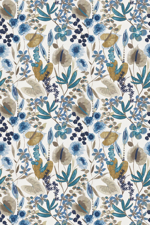 Nalina By Harlequin Indigo Mustard Stone Fabric