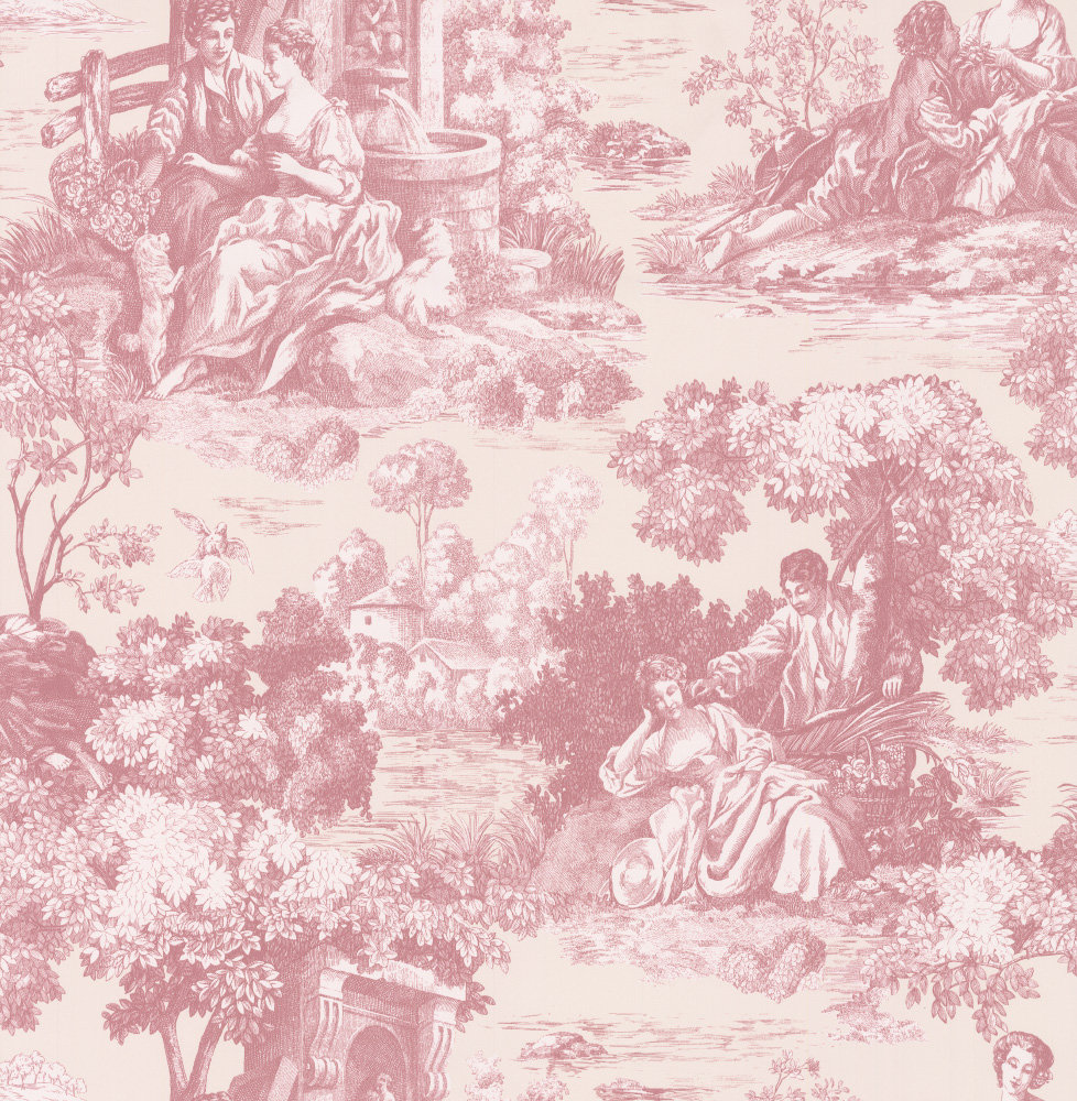 Elegant toile by albany red wallpaper direct - Papel pintado toile de jouy ...
