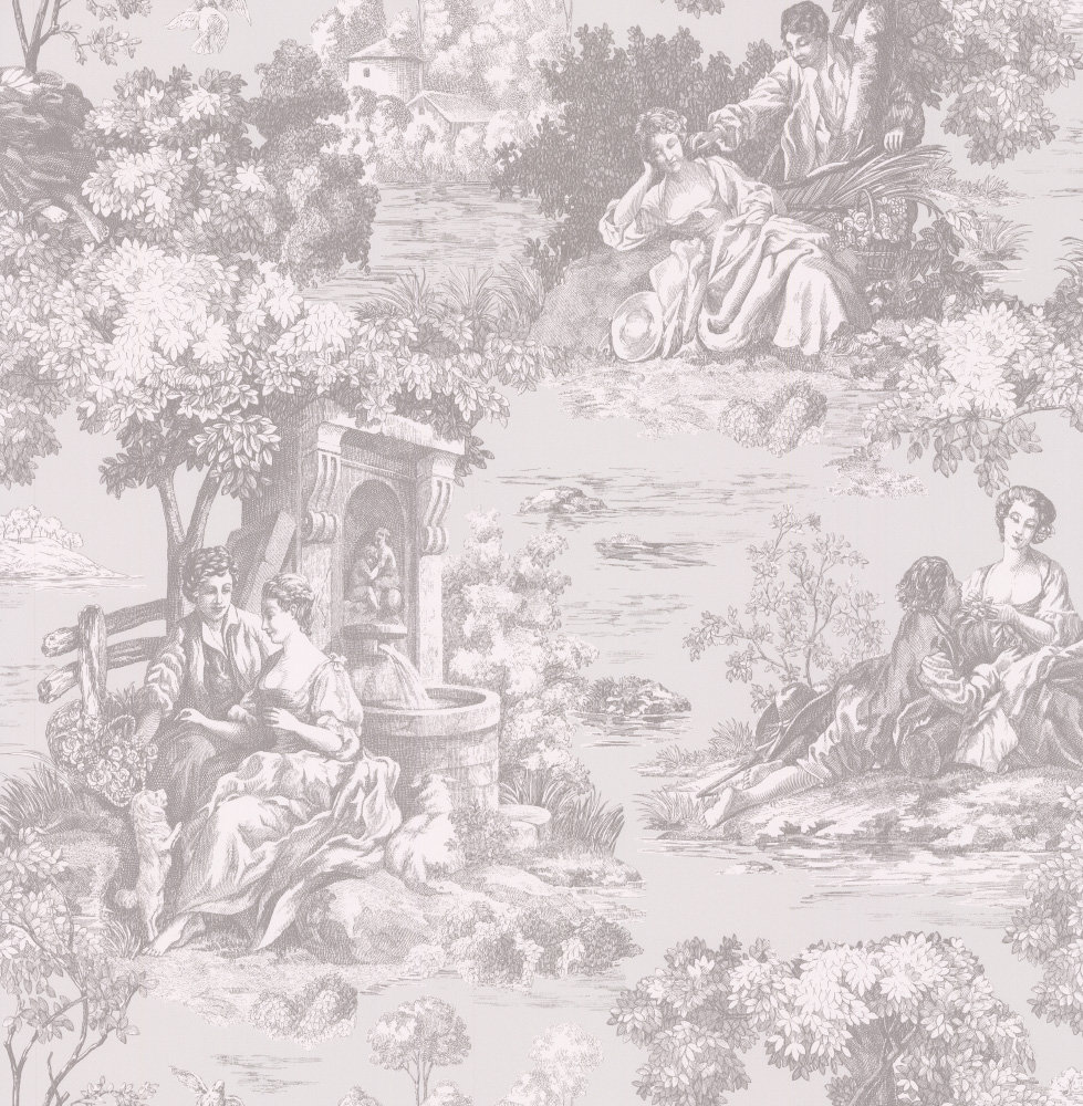 Albany Elegant Toile Grey Wallpaper - Product code: 21512