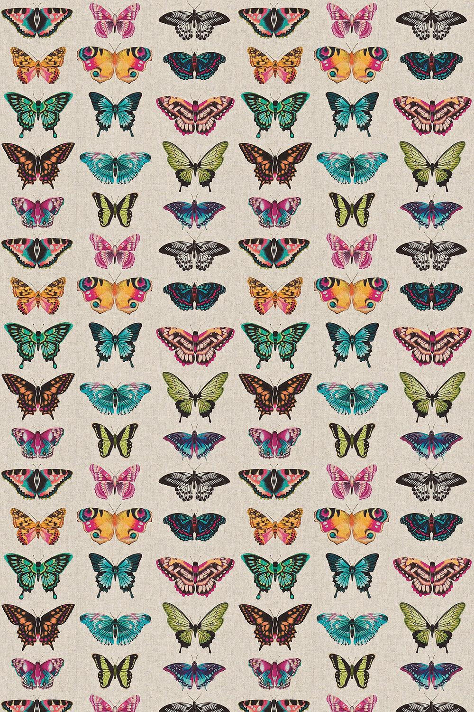 Papilio Fabric - Flamingo/Papaya/Loganberry - by Harlequin