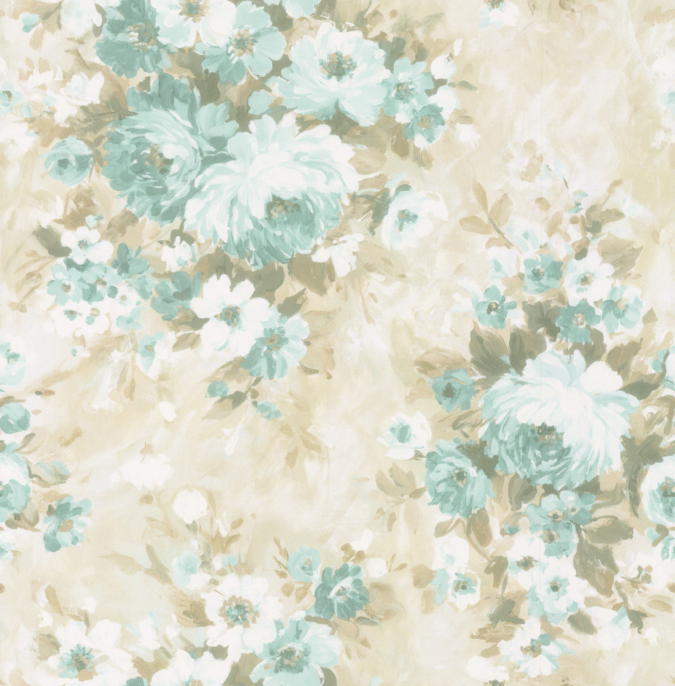 Albany Flower Damask Blue Wallpaper main image