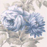 Albany Stylised Rose Blue Wallpaper