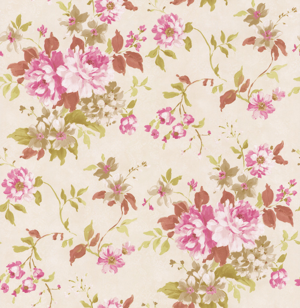 Albany Floral Spruce Pink Wallpaper - Product code: 21613