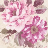 Albany Floral Stripe Mulberry Wallpaper - Product code: 21619