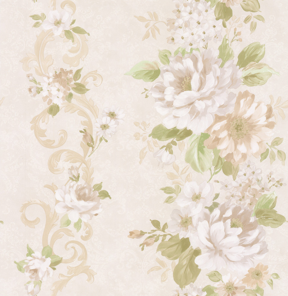 Albany Floral Stripe White Wallpaper - Product code: 21620
