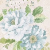 Albany Floral Stripe Duck Egg Wallpaper