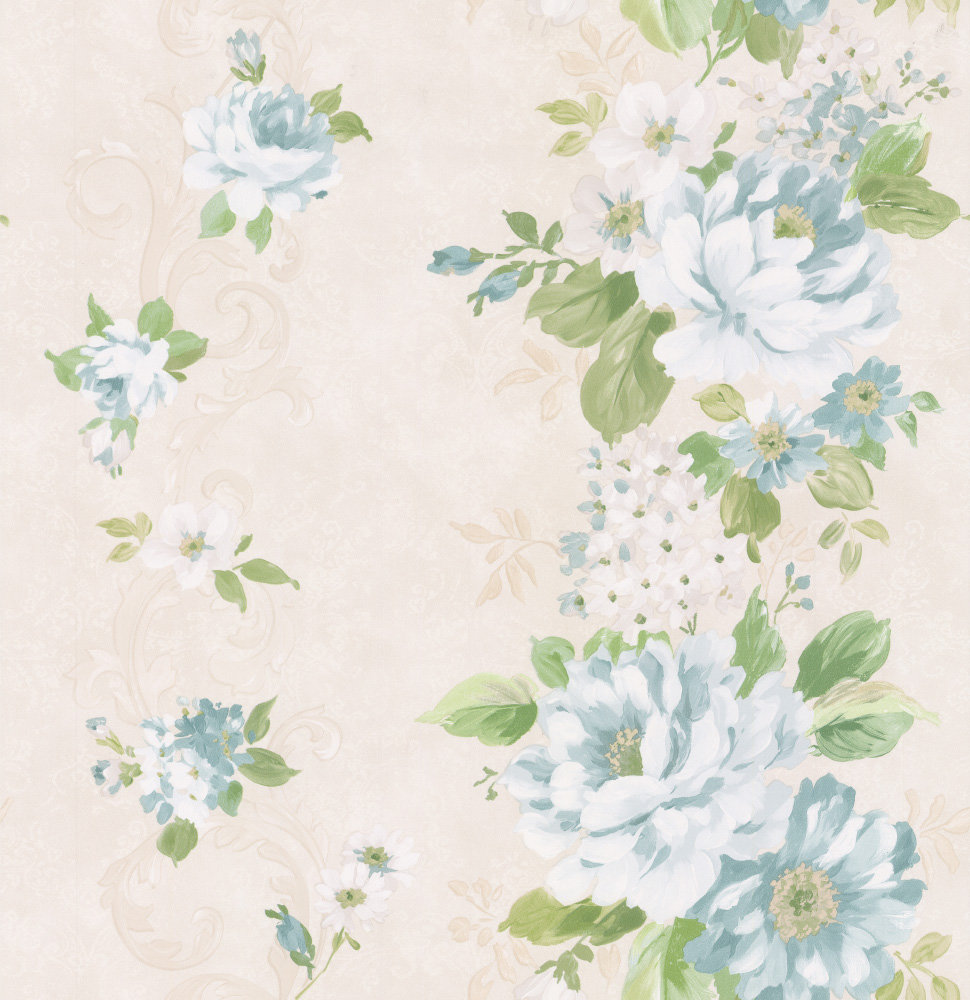 Albany Floral Stripe Duck Egg Wallpaper - Product code: 21621