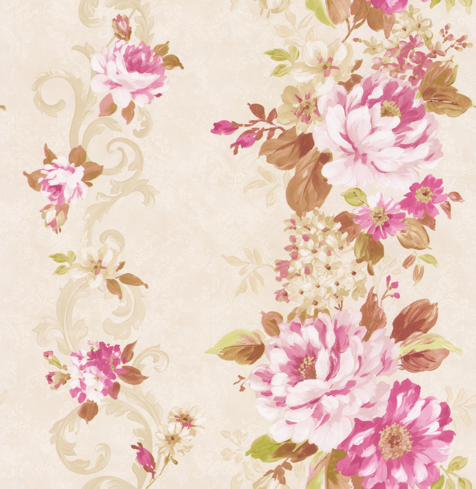 Albany Floral Stripe Pink Wallpaper - Product code: 21618