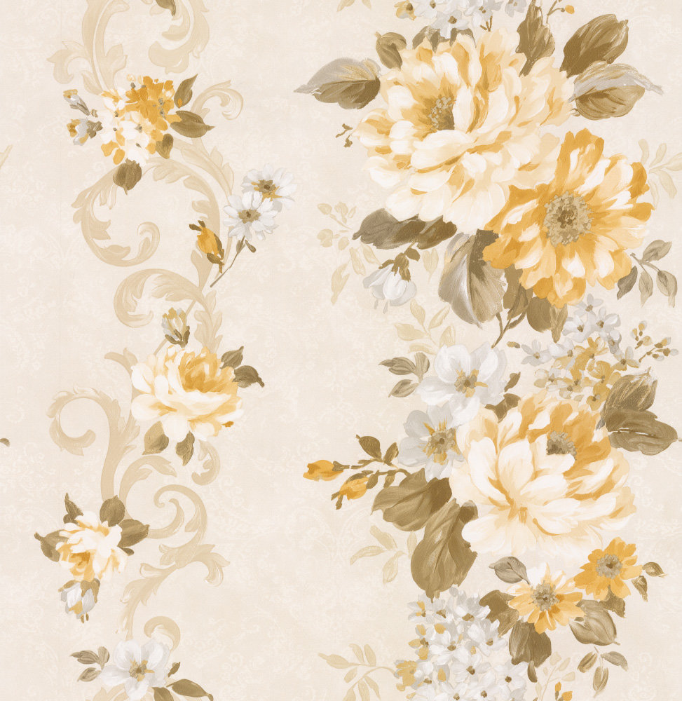 Albany Floral Stripe Yellow Wallpaper - Product code: 21617