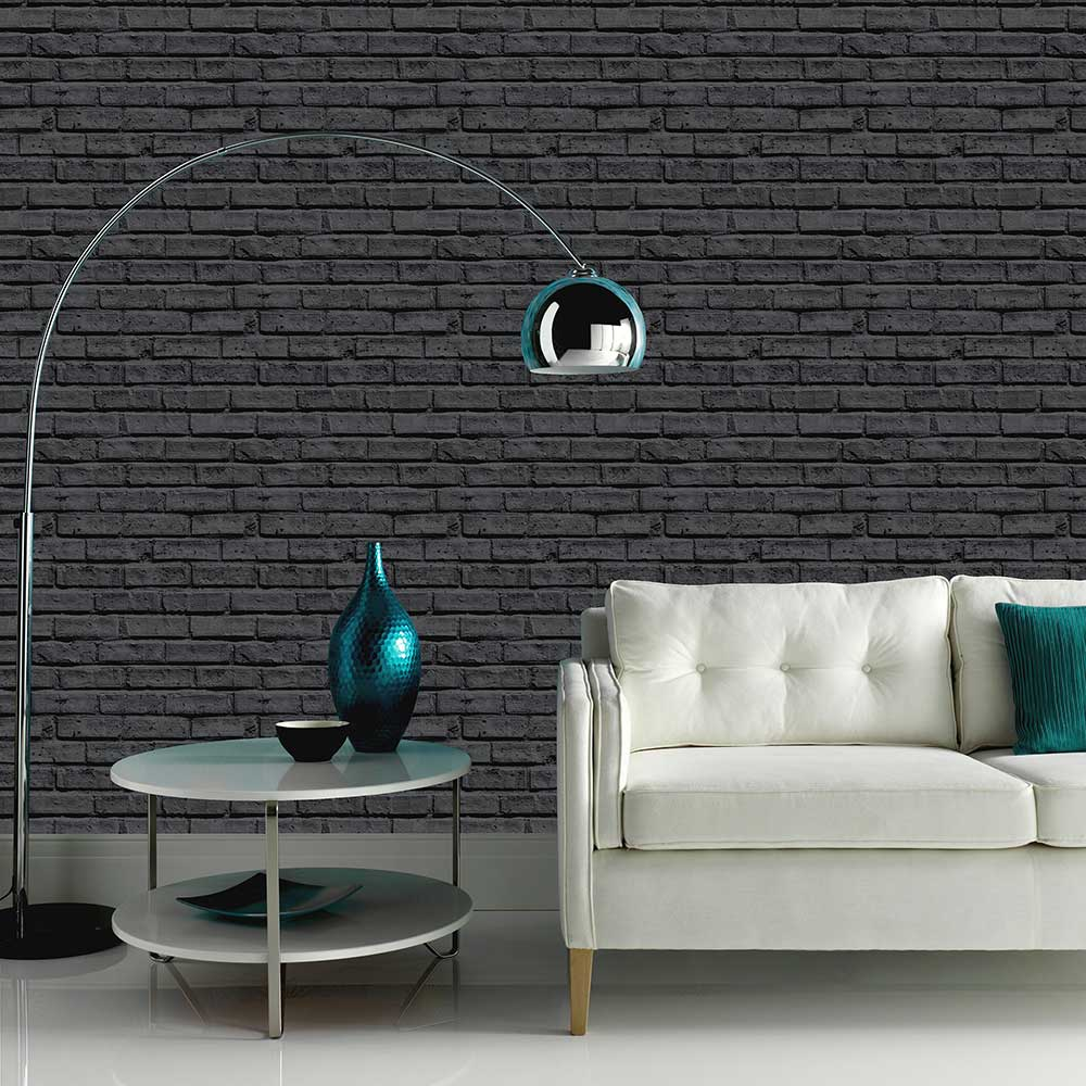 Black Brick Wallpaper - by Arthouse