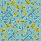 Sanderson Candytuft Teal / Cadmium Wallpaper