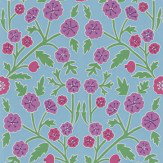 Sanderson Candytuft Powder Blue / Berry Wallpaper