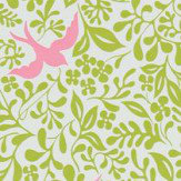 Sanderson Larksong Lime / Cerise Wallpaper
