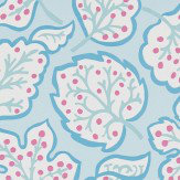 Sanderson Jewel Leaves Blue / Berry Wallpaper