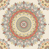 Albany Kalinda Tile Tangerine / Grey Wallpaper - Product code: SZ001803