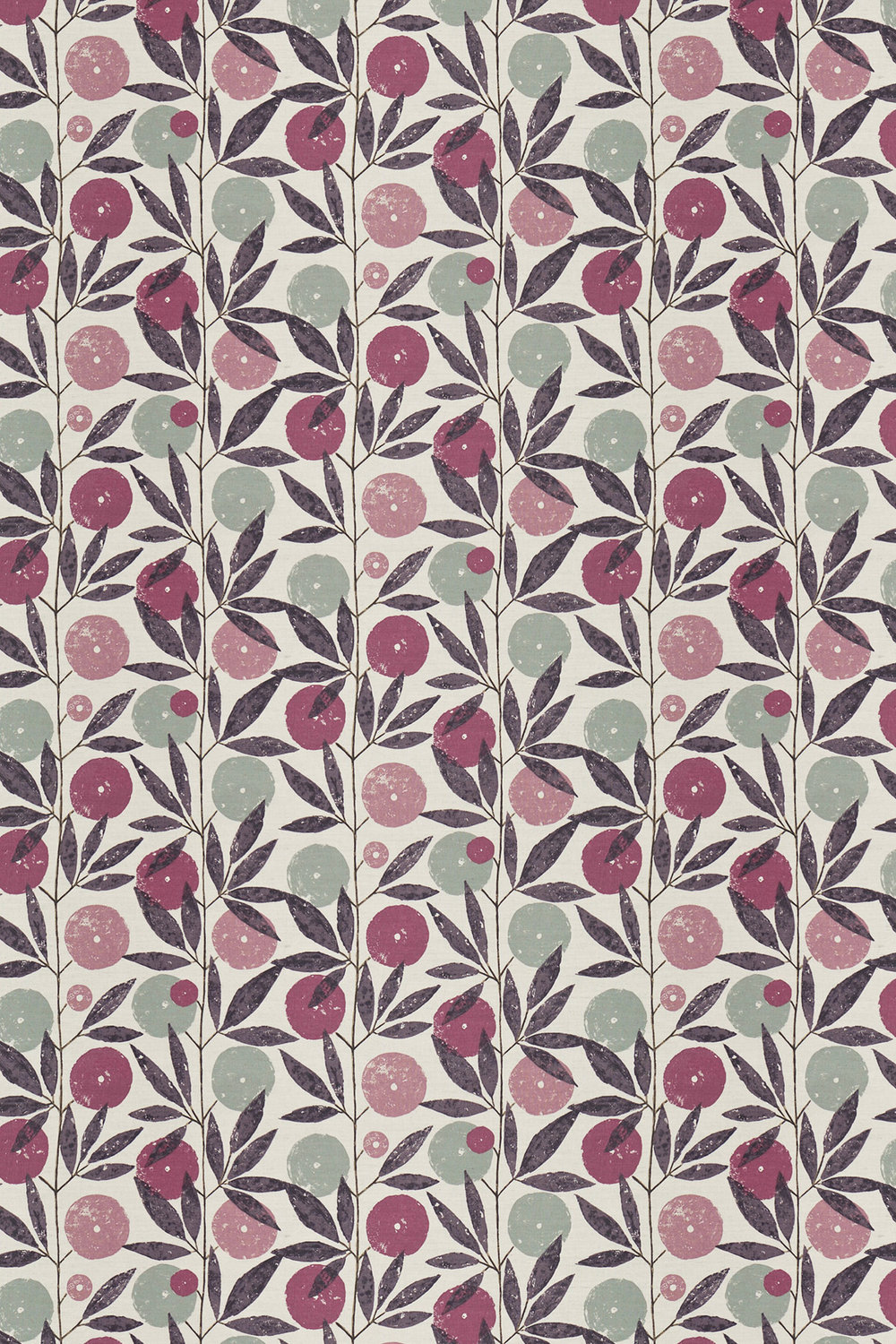 Blomma Fabric - Heather, Damson and Stone - by Scion