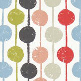 Scion Taimi Kiwi, Poppy and Charcoal Fabric - Product code: 120364