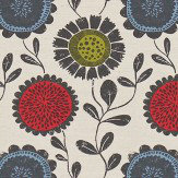 Scion Anneke Poppy, Kiwi and Charcoal Fabric - Product code: 120371