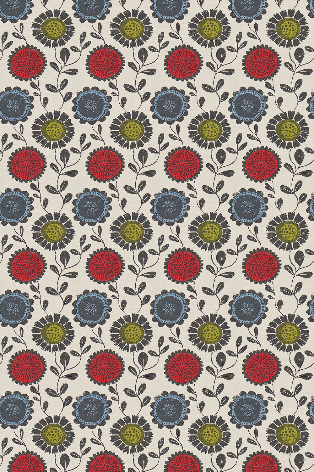 Anneke Fabric - Poppy, Kiwi and Charcoal - by Scion