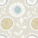 Scion Anneke Honey, Chalk and Seaglass Fabric - Product code: 120373