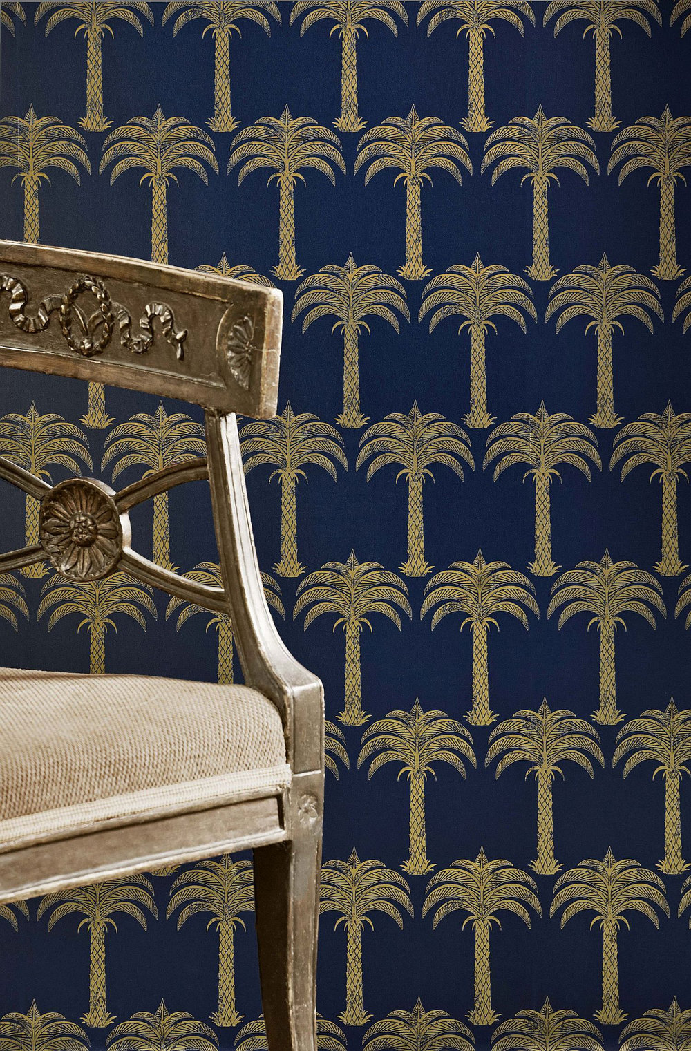 Marrakech Palm Wallpaper - Midnight Blue - by Barneby Gates