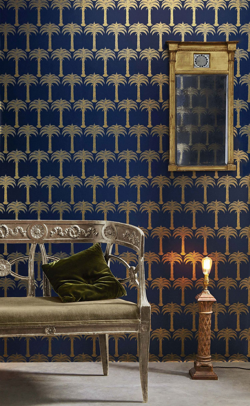 Barneby Gates Marrakech Palm Midnight Blue Wallpaper - Product code: BG1200101