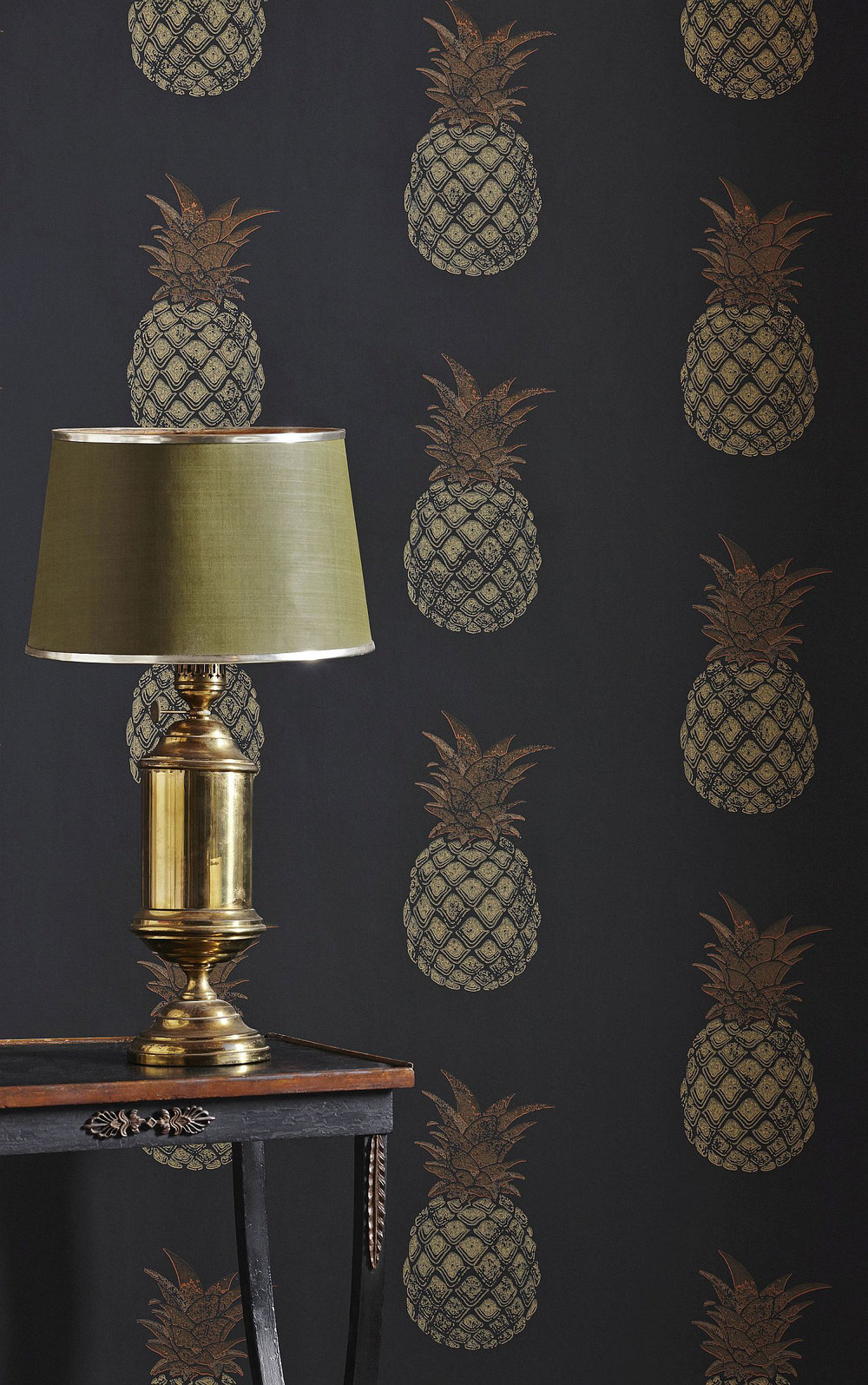 Pineapple Wallpaper - Charcoal - by Barneby Gates