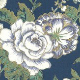 Albany Raipur Floral Marine Blue Wallpaper