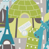 Galerie Travel Memories Petrol Green Wallpaper